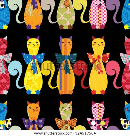Seamless vector background with decorative elegant cats