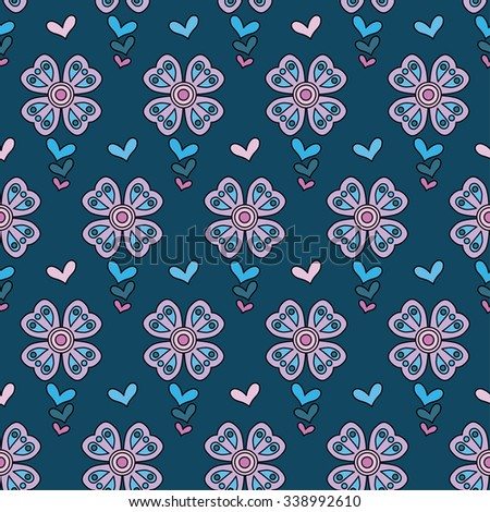Seamless vector background with decorative flowers
