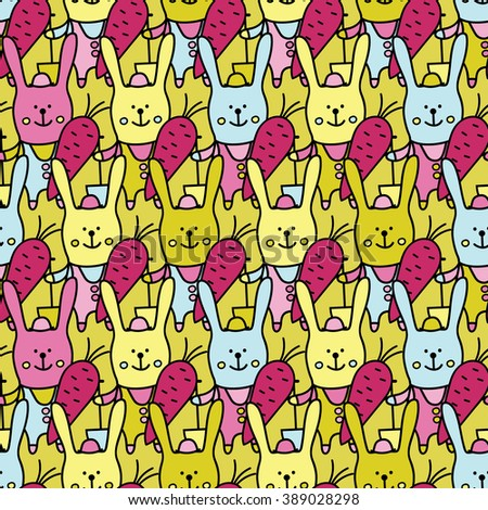 Seamless vector background with decorative rabbits. Print. Cloth design, wallpaper.