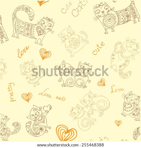 seamless vector background with different cute animals,objects and hearts - stock vector