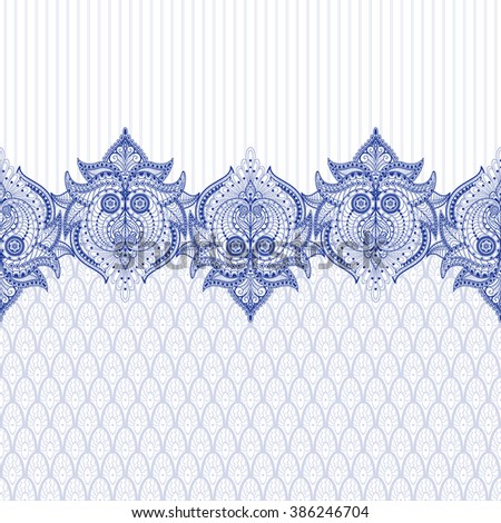 Seamless vector background with floral oriental border and delicate ornament on backdrop. - stock vector
