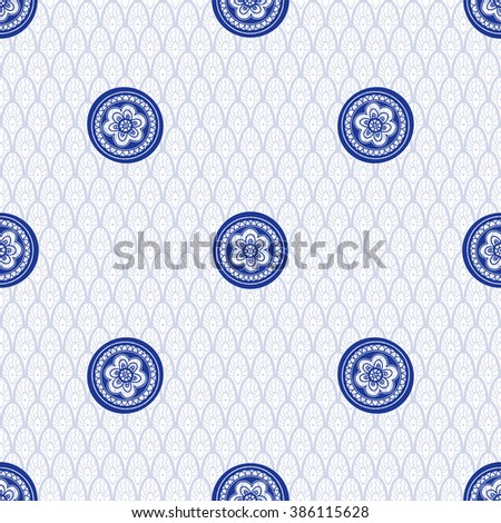 Seamless vector background with floral round pattern in vintage style. Delicate ethnic backdrop.  - stock vector