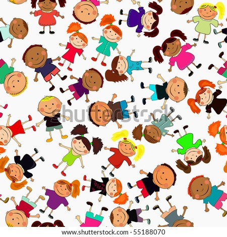 seamless vector background with kids. - stock vector