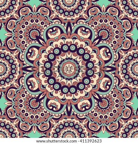 Seamless  vector  background with mandala.  Islam, Arabic, Indian, ottoman style. Background, wallpaper, textile.  Design for silk neck scarf, kerchief, hanky, pillow, hanky, pillow, carpet, rug