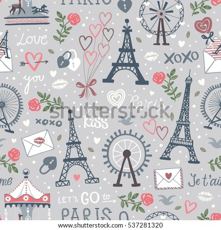 Seamless vector background with Observation wheel and Eiffel tower icons.