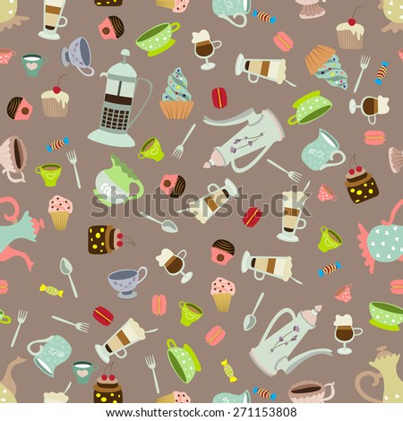 Seamless vector background with tea mugs, cakes, coffee pots - stock vector