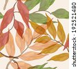 seamless vector background with watercolor leaves - stock