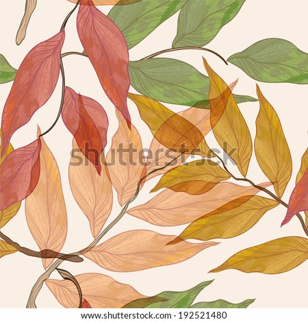 seamless vector background with watercolor leaves - stock vector