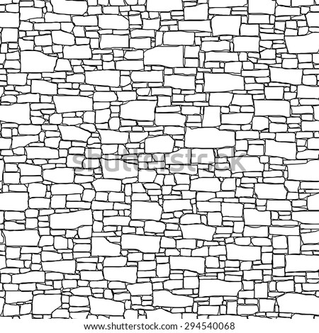 Seamless vector black and white background of stone wall ancient building with different shapes bricks (drawn by ink). - stock vector