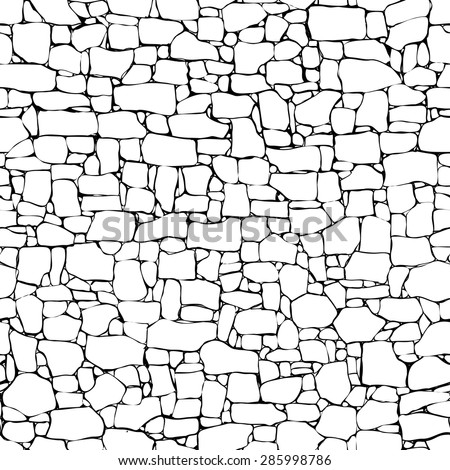 Seamless Vector Black And White Background Of Stone Wall Ancient Building With Different Sized Bricks