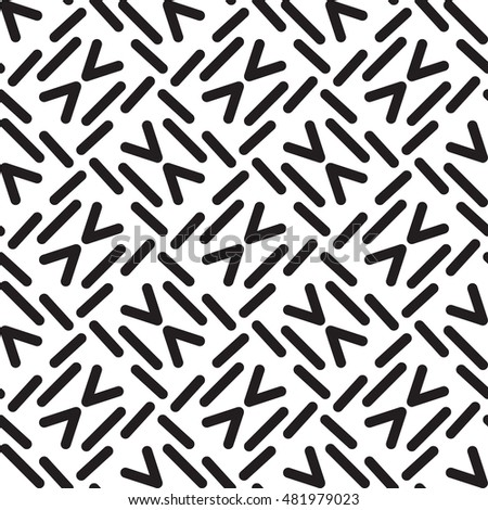 Seamless vector black and white minimal geometric lines memphis pattern abstract background