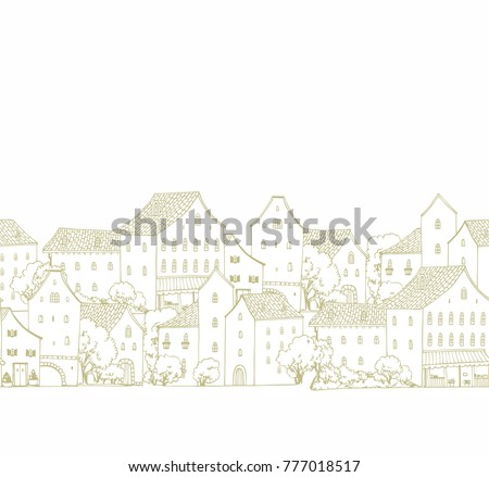 Seamless vector border pattern with houses on white background