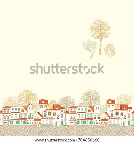 Seamless vector border  pattern with old houses and  trees silhouettes