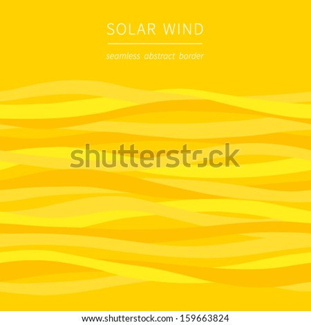 Seamless vector border with waves. Bright yellow background. It can be used for wallpaper, pattern fills, web page background, surface textures. - stock vector