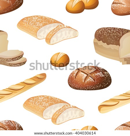 Seamless vector bread pattern. Ideal for bakery shops and food packaging