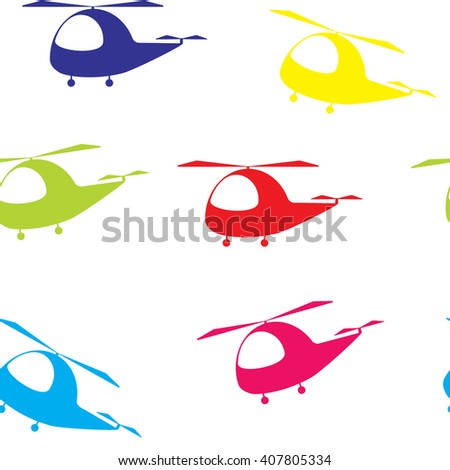 Seamless vector bright colorful pattern with cute cartoon helicopters on white background. Kids pattern, Print, texture, fabric childish design decoration in cute cartoon style. - stock vector
