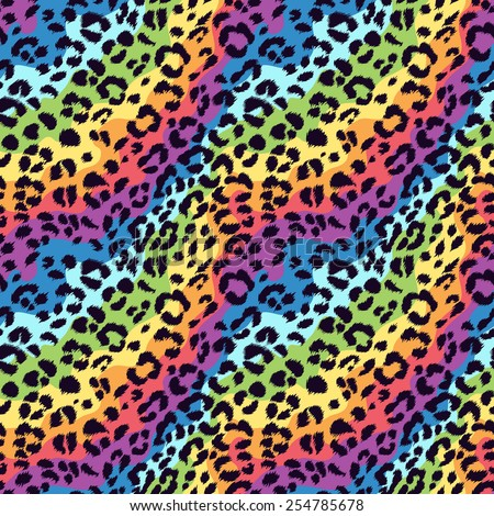 Seamless vector bright colors leopard pattern. Animal print. Can be used for fabrics, wallpapers, scrap-booking, ornamental template for design and decoration, etc - stock vector