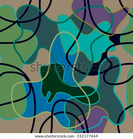 Seamless vector camouflage pattern with bright contours. Colorful on beige. Backgrounds & textures shop.  - stock vector