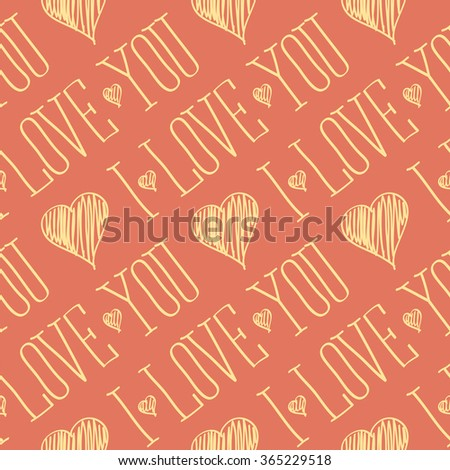 seamless vector card with heart and I love you words - stock vector