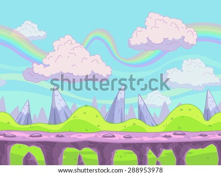 Seamless vector cartoon landscape, fantasy unending background with separated layers for game design - stock vector