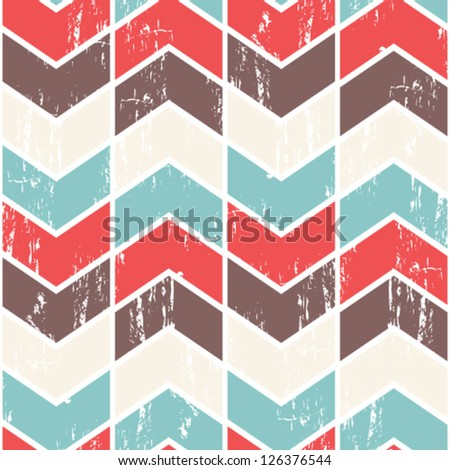 Seamless vector chevron pattern. Scratched chevron background. - stock vector