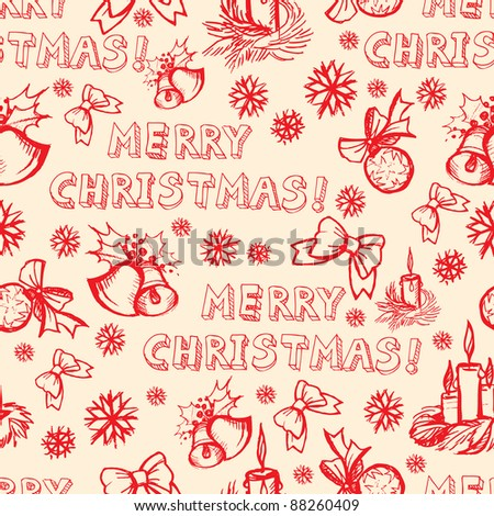 Seamless vector Christmas pattern (from my big seamless collection) - stock vector