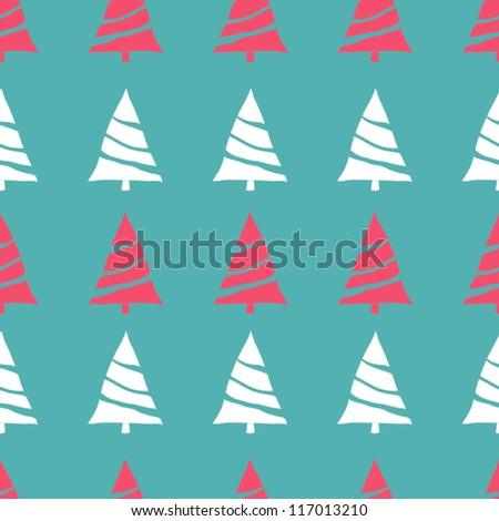 Seamless vector Christmas pattern with Christmas trees, winter background - stock vector