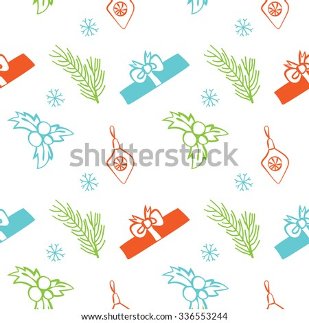 Seamless vector Christmas texture. Seamless backdrop with pine tree, gift box, christmas decoration, holly berry, snowflakes. Simple style pattern background with Christmas holiday elements. - stock vector
