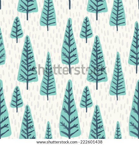Seamless vector Christmas tree pattern.  - stock vector