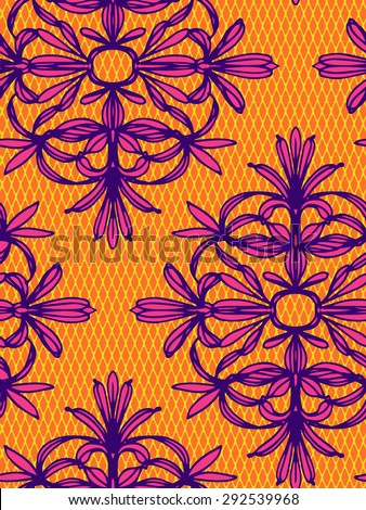 seamless vector colorful ornamental pattern. ink illustrated floral elements which form symmetrical shapes, elegant lace design, in ethnic colors.  - stock vector