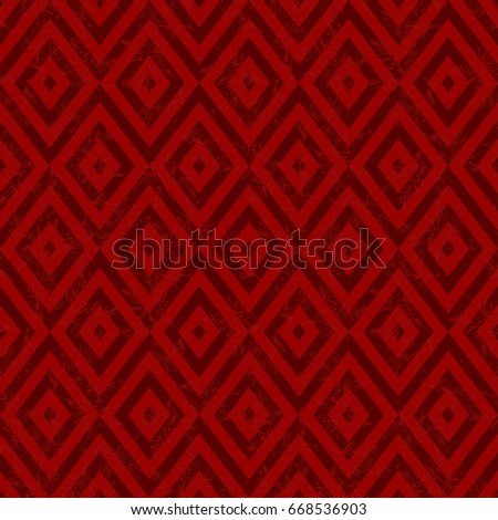 Seamless vector combined floral and geometric pattern. Trendy ethnic fashion print. Modern tribal design in red, pink, coral colors. Exotic collection with hand drown leaves and geometric elements.