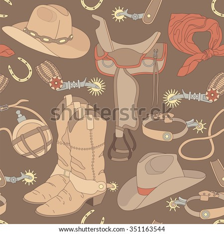 Seamless vector cowboy pattern can be used for graphic design, textile design or web design. - stock vector