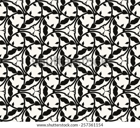 Seamless vector damask pattern. Modern stylish texture. Repeating tiles of leafs - stock vector