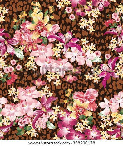 Seamless vector elegant floral pattern with orchids and lilies on a brown background with leopard skin imitation. - stock vector