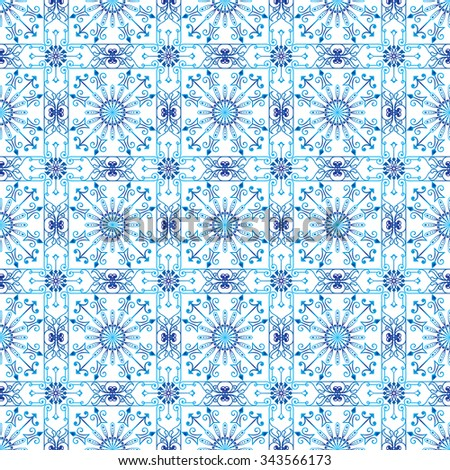 Seamless vector ethnic ornament. Detailed openwork pattern of mandalas on a white background.
