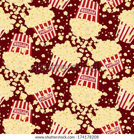 Seamless vector falling popcorn background on brown - stock vector