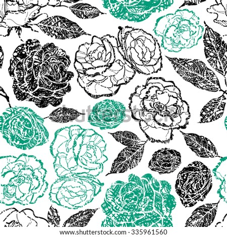 Seamless vector floral grunge pattern with plants and flowers - stock vector