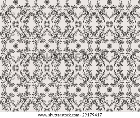 seamless vector floral ornament damask pattern - stock vector