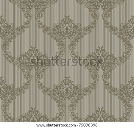 Seamless vector floral ornament on a striped background - stock vector