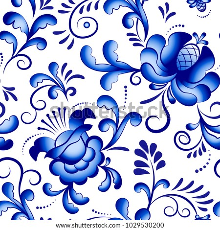 Seamless vector floral pattern background in the style of Gzhel. Traditional russian ornament