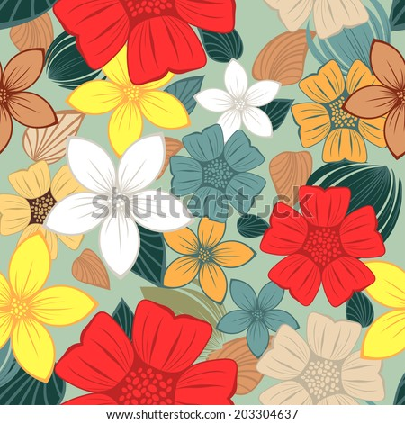 Seamless vector floral pattern. For easy making seamless pattern just drag all group into swatches bar, and use it for filling any contours. EPS 10.