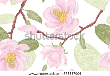 Seamless vector floral pattern. Illustration magnolia Victorian style. Vintage luxury decoration magnolia. Series floral design unique technique. Magnolia tree branch with flowers on white background. - stock vector