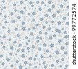 seamless vector floral pattern in blue tones - stock photo