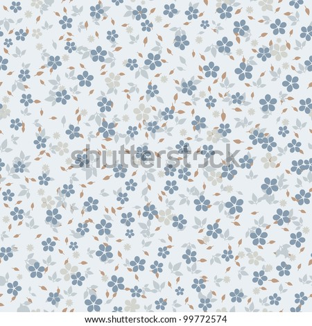 seamless vector floral pattern in blue tones - stock vector