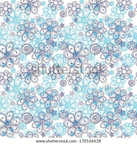 Seamless vector floral pattern of doodle drawn daisies in light and dark blue colors, great as a background, wallpaper, textile, especially as a baby boy clothes or diapers - stock vector