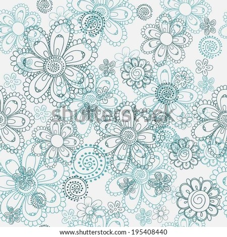 Seamless vector floral pattern of doodle drawn daisies in light and dark turqouise colors, great as a background, wallpaper, textile, wrapping paper etc - stock vector