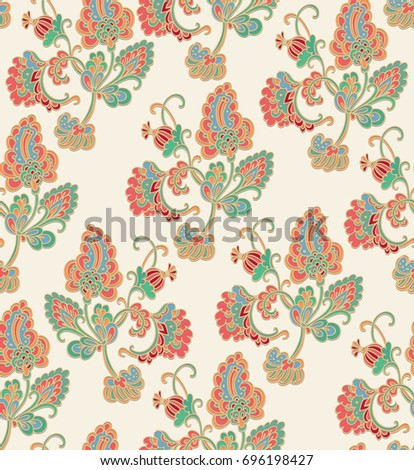 Seamless vector floral pattern on beige background