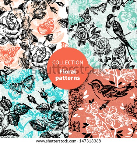 Seamless vector floral pattern set  - stock vector