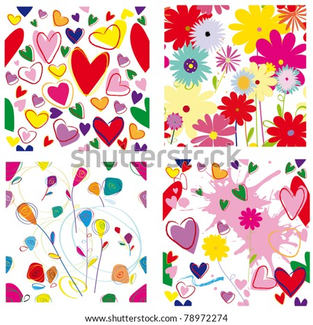 Seamless vector floral pattern set. - stock vector