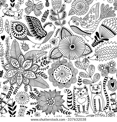Seamless vector floral pattern, spring/summer backdrop, black and white colorful childish style animals and flowers. Romantic elements for wedding invitations, Valentine's day greetings - stock vector